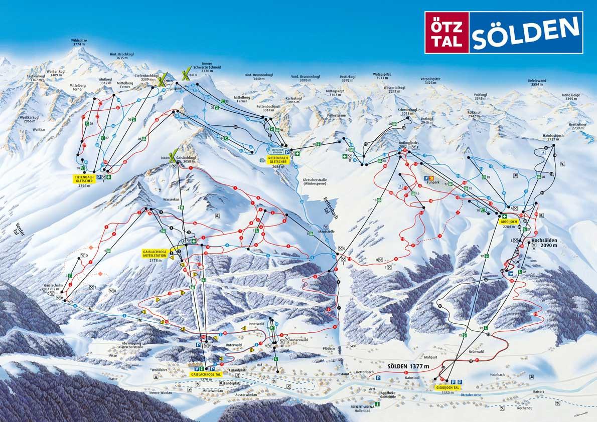plattegrond van het skigebied van Solden.